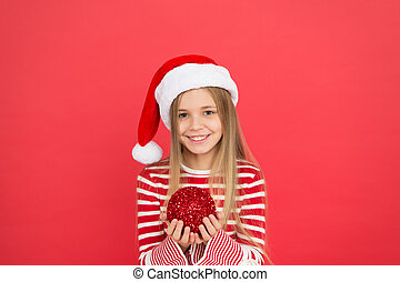 Beautiful detail. Positivity concept. Cheerful mood. Christmas party. Winter holidays. Playful mood. Christmas celebration ideas. Child Santa Claus costume hat. Happy smiling face. Shine and glitter