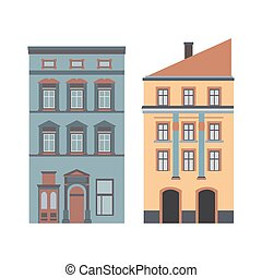 Beautiful detailed cartoon cityscape collection with...