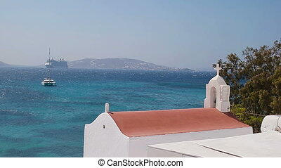Beautiful details of greek island - typical house with white...