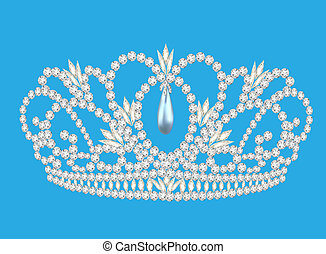 beautiful diadem feminine wedding on we turn blue background...