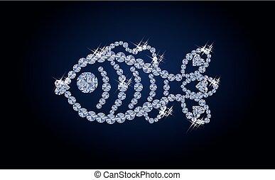 Beautiful diamond fish, vector