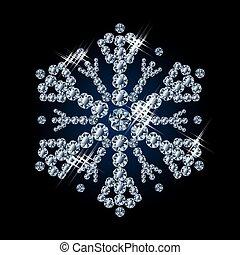 Beautiful diamond snowflake, vector
