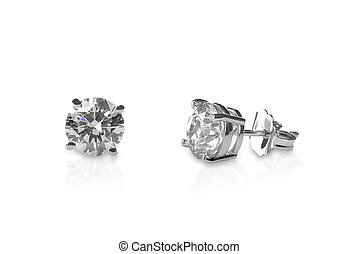 Beautiful Diamond stud earrings isolated on white with a reflection