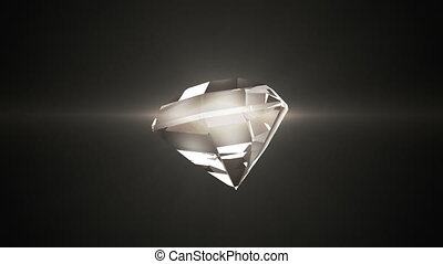 Beautiful diamond warm shade rotates on a black background. looped movement.