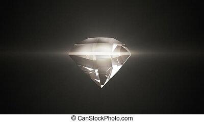 Beautiful diamond warm shade rotates on a black background....