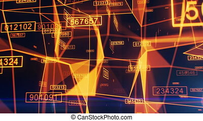 Beautiful Digital Abstract Network Working Process. Moving Through the Grid with Numbers and Light Flashes. Orange and Blue 3d Animation. Technology and Business Concept. 4k Ultra HD 3840x2160.