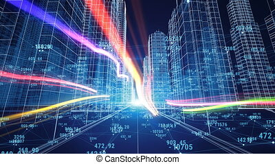 Beautiful Digital World. Abstract Digital City with Numbers and Grids. Flying Through the 3d Blueprint. Business and Technology Concept. 3d animation.