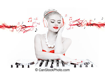 Beautiful disc jockey mixing music - Creative toned portrait...