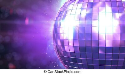 Beautiful Disco Ball Spinning seamless with flares. Close-up. HD 1080.