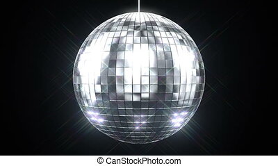 Beautiful Disco Ball Spinning seamless with Flares on Black...