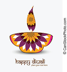 Beautiful diwali card artistic diya colorful vector