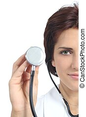 Beautiful doctor woman holding a stethoscope ready to auscultate isolated on a white background