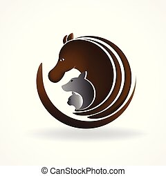 Beautiful dog horse and cat logo