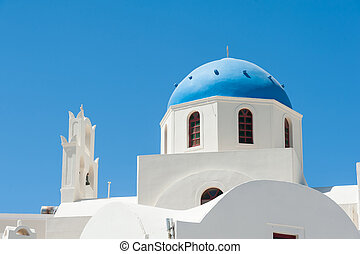 Beautiful dome in the sun of Santorini