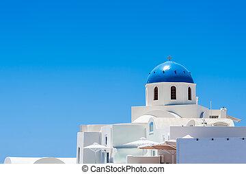 Beautiful dome of a church in Santorini