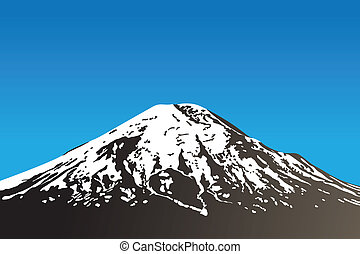 beautiful dormant volcano and clear sky (vector illustration)