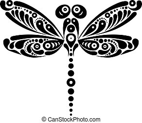 Beautiful dragonfly tattoo. Artistic pattern in butterfly...