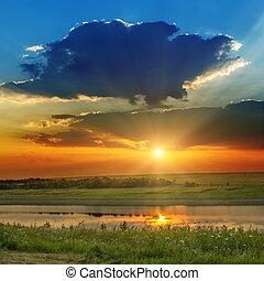 beautiful dramatic sunset over river