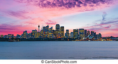 Beautiful dramatic sunset over Sydney skyline in Australia