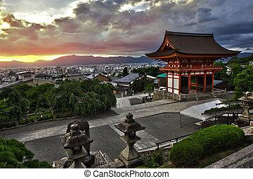 Kyoto - Beautiful dramatic sunset seen from the Kiyomizu-...