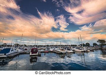 Beautiful Dramatic Sunset Sky over Chicago Harbor Michigan Lake
