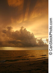 Beautiful tropical sunset from Sanibel Island, Florida, over the Gulf of Mexico