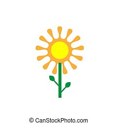 Beautiful drawn flower in a vector of gentle tones. Rounded flower petals of orange color. Isolate on a white background.