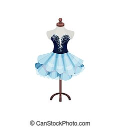 Beautiful dress on mannequin. Costume of theater actress on dummy. Item of dressing room. Flat vector design