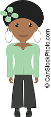 Beautiful Dressy African Woman Illustration Vector