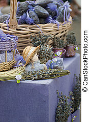 beautiful dried lavender on the market - background