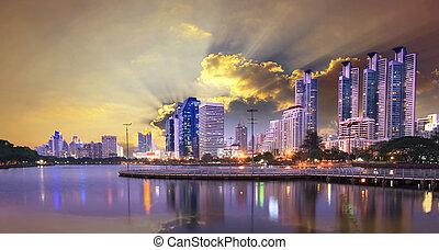 beautiful dusky sky of modern build
