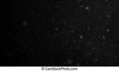 Beautiful Dust Particles Moving on Black Background in Slow Motion. Looped 3d Animation of Floating Particles in Dynamic Wind In The Air With Bokeh. 4k Ultra HD 3840x2160