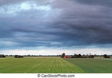 beautiful Dutch farmland in spring, Groningen, Netherlands
