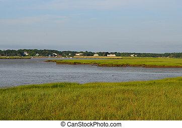 Scenic Duxbury Bay in Massachusetts with marsh grass.
