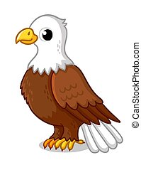 Beautiful eagle in cartoon style on a white background. Vector illustration.