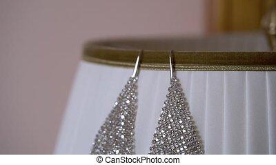 Beautiful earrings on lamp pan