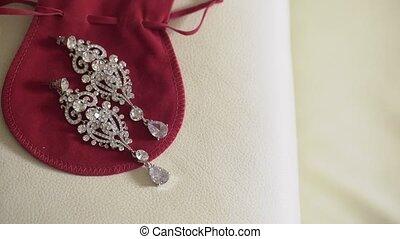 Beautiful earrings on red bag