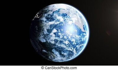 Beautiful Earth Rotating in Space Seamless. Daytime on the Planet, World in Sunshine Looped 3d Animation. Realistic View from Orbit Satellite. Business and Technology Concept. 4k UHD 3840x2160