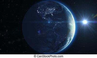Beautiful Earth rotation 360, Sun