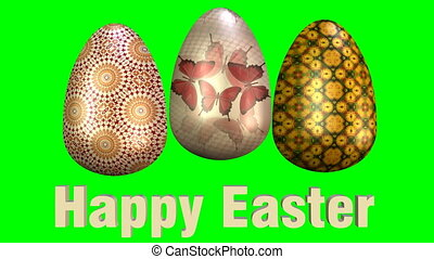 Beautiful easter animation with three multicolored eggs and...