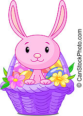 Beautiful Easter basket with bunny and eggs