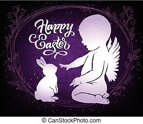 Beautiful Easter card with angel and bunny