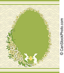 easter card with bunny and flowers