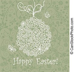 Beautiful easter card with lacy egg