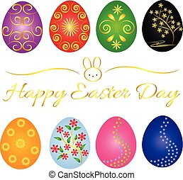 Beautiful Easter Day background and card and object -...