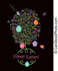 Beautiful Easter decorative greeting card with crochet lacy...