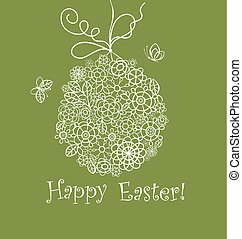 Beautiful Easter decorative olive green greeting card with...