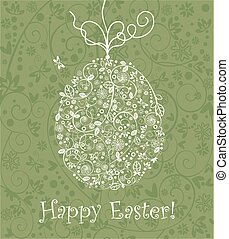 Beautiful Easter decorative olive green greeting card with hanging lacy egg