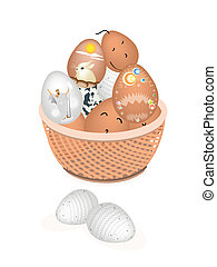 Beautiful Easter Eggs in A Brown Basket
