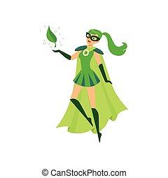 Beautiful eco superhero girl soar in air - Beautiful eco...